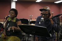 Vocalists Abena Koomson and Sahr Ngaujah — who starred in the off-Broadway and Broadway productions of FELA!, the musical based on the life of Nigerian Afrobeat pioneer Fela Kuti — join Kronos to rehearse the iconic Fela song