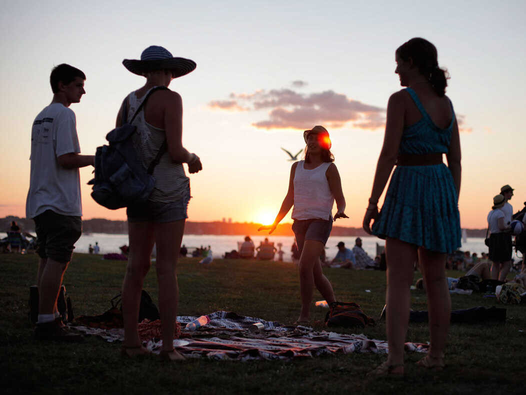 Music lovers gather and dance at the 2012 Newport Folk Festival.