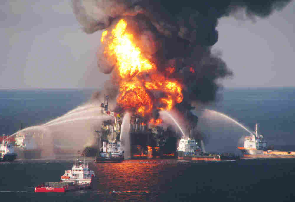 Fire boats battle a fire at the off shore oil rig Deepwater Horizon in April 2010.