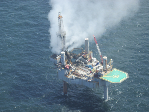 Gas Well On Fire After Blowout In Gulf Of Mexico