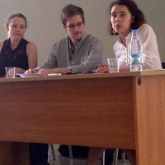 Edward Snowden at Moscow's Sheremetyevo airport on July 12. At left is WikiLeaks' Sarah Harrison.