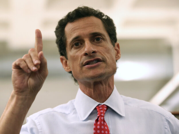 "Anthony Weiner during an appearance Tuesday in which he admitted that he had continued to ""sext"" after resigning from Congress in 2011."