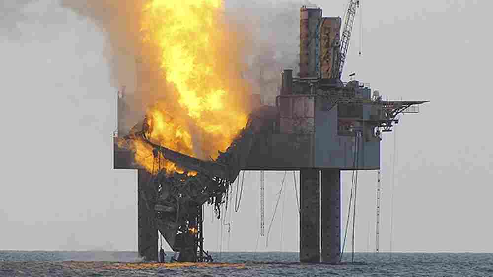 The out-of-control natural gas well in the Gulf of Mexico on Wednesday after it blew out and caught fire.