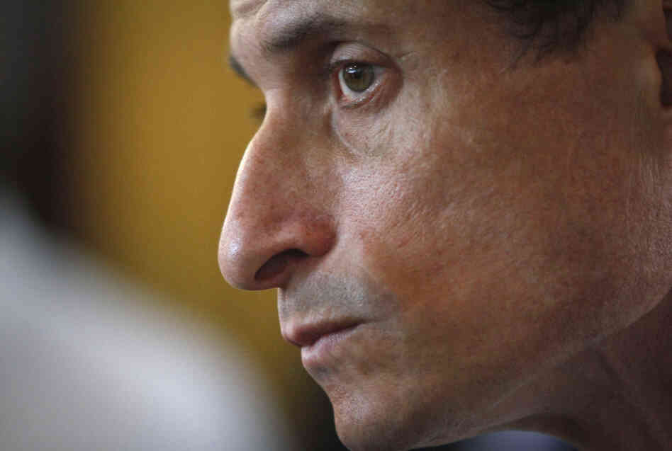 Embattled New York mayoral candidate Anthony Weiner attends a news conference Thursday in New York.