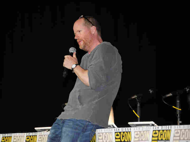 Joss Whedon speaks at the Dark Horse panel. Whedon's properties for the comic book publisher are related to his television shows Buffy the Vampire Slayer and Firefly.