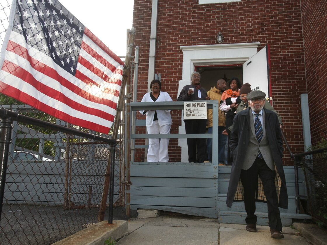 Amiri Baraka leaves the polling place after voting in Newark, N.J., in 2010. Amiri's son, Ras Baraka, is currently running for mayor.