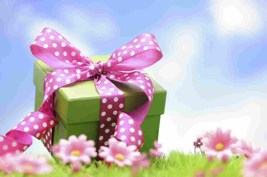 A green gift box with a pink bow in a flowery field with blue skies above.
