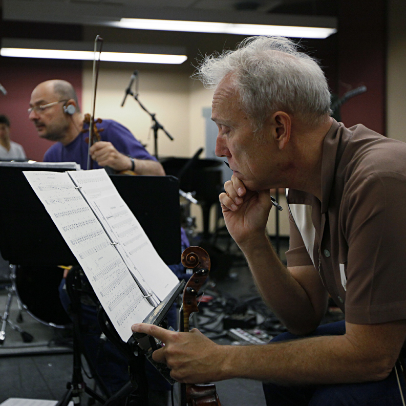 The Kronos Quartet's David Harrington, John Sherba and Hank Dutt rehearse at Carroll Music Studios in New York Tuesday.