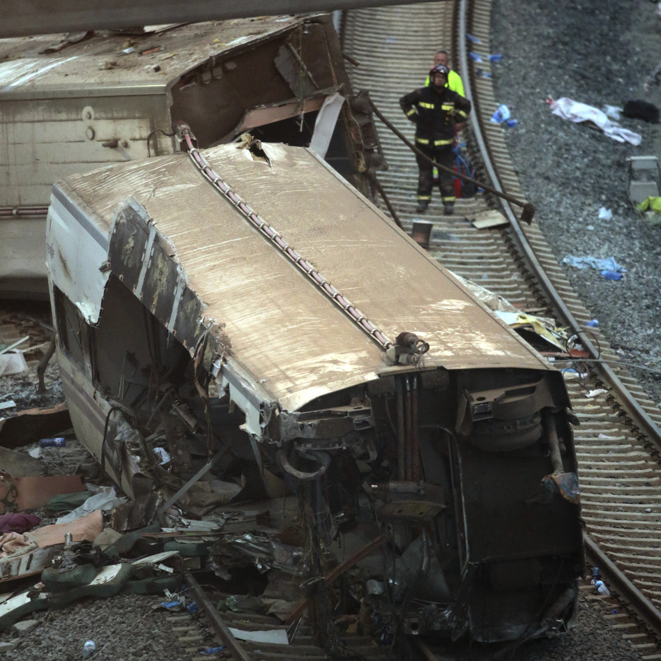 Some of the wreckage at the site of Wednesday's train crash near Santiago de Compostela, Spain.