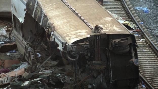 Some of the wreckage at the site of Wednesday's train crash near Santiago de Compostela, Spain. (Reuters/Landov)