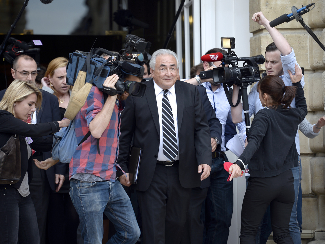 Dominique Strauss-Kahn, former head of the International Monetary Fund, leaves after a hearing before an investigation committee on capital flight at the French Senate in June.