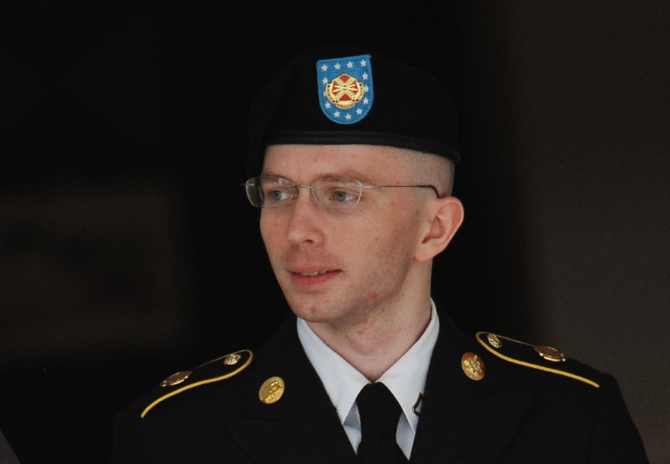 Army Pfc. Bradley Manning is escorted from court on Thursday in Fort Meade, Maryland. (Mandel Ngan /AFP/Getty Images)