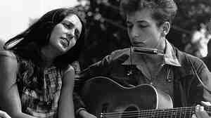 "Joan Baez and Bob Dylan performing Aug. 28, 1963 at the March On Washington, where Martin Luther King, Jr. delivered his ""I Have A Dream"" speech."