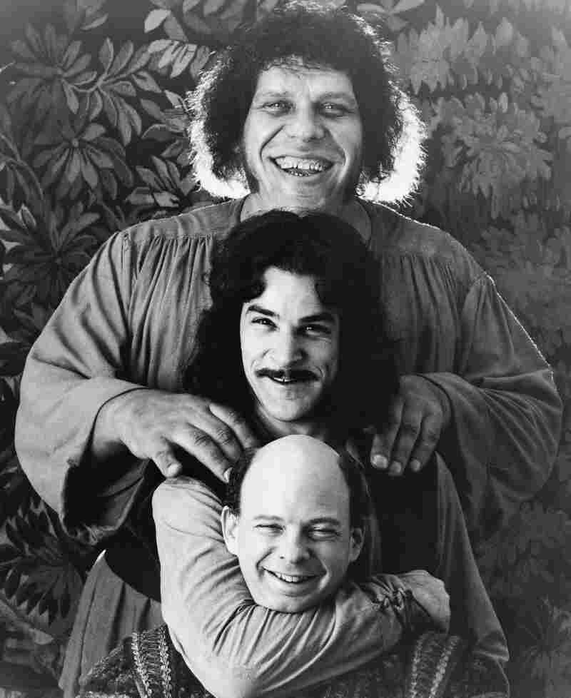 Wallace Shawn (bottom) appeared alongside Mandy Patinkin and Andre the Giant (top) in the 1987 cult classic The Princess Bride.