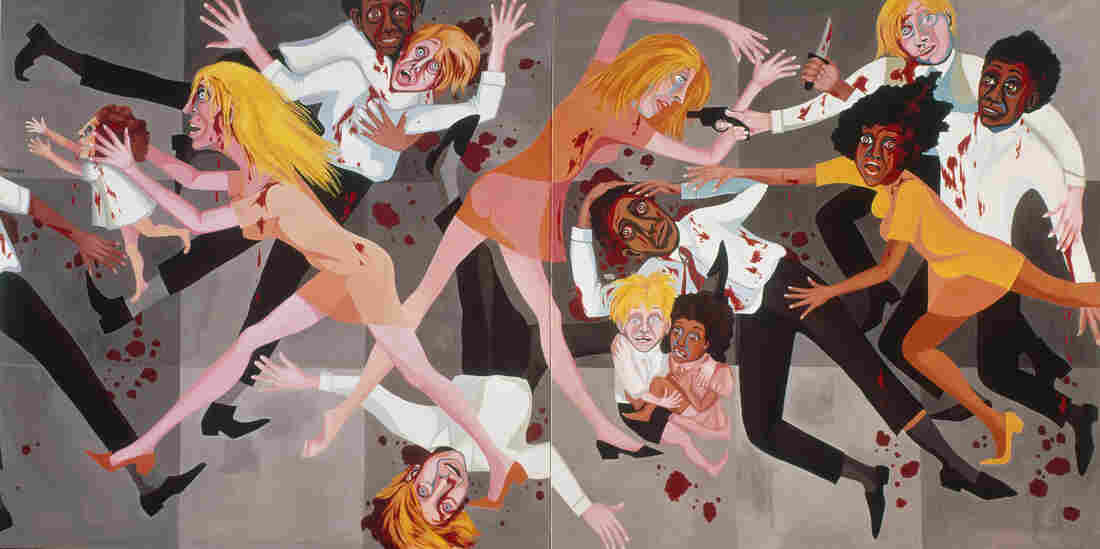 """It was what was going on in America and I wanted [viewers] to look at these paintings and see themselves,"" Ringgold says. Above, American People Series #20: Die, 1967, oil on canvas."