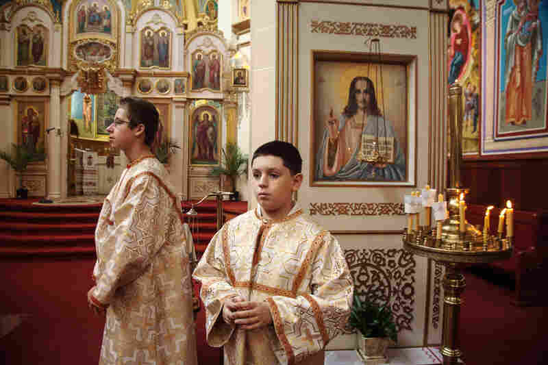 Ukrainian boys in the Ukrainian Church during a baptism ceremony, November 2012.