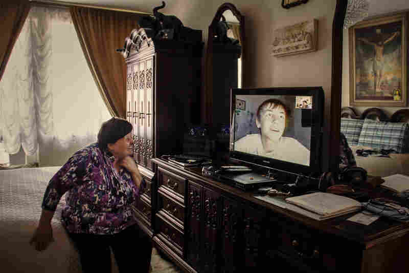 Immigrant Anna Vasileva on Skype with her grandson Igor, who lives back in Ukraine, April 2012.