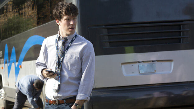 In Season 2 of The Newsroom, Jim Harper (John Gallagher Jr.) goes on the 2012 campaign trail.