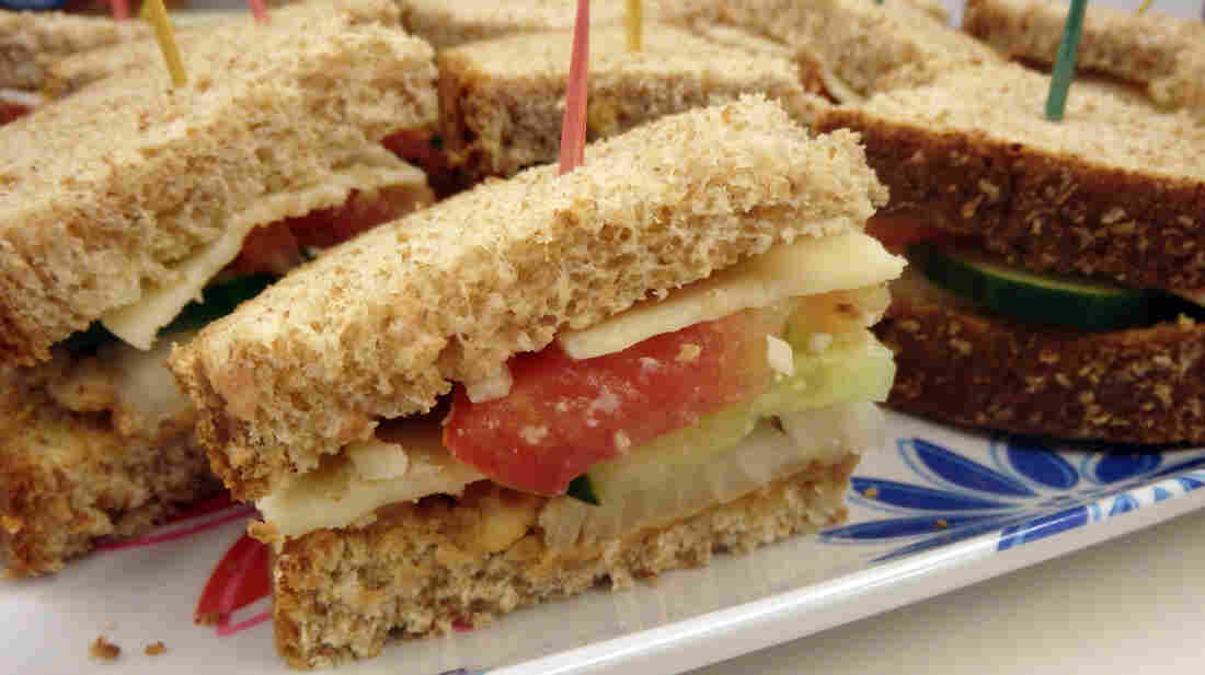 Marti Olesen's recipe for Diane's Dad's Summer Sandwich includes cheddar cheese, cucumbers, tomatoes, onions and crunchy peanut butter. It won many votes for being a strange but surprisingly delicious sandwich.