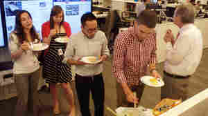 Some NPR staff members taste recipes from the contest finalists.