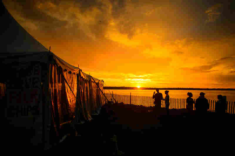 Sunset over Newport.
