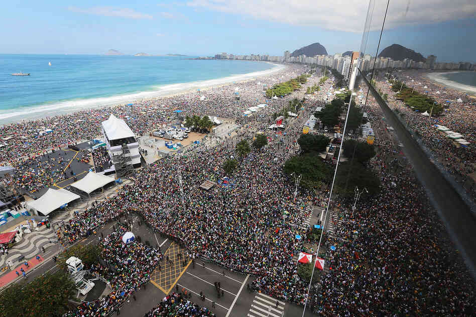 An estimated 3 million people jammed Copacabana Beach for Pope Francis' final Mass on his trip to Brazil on Sunday.