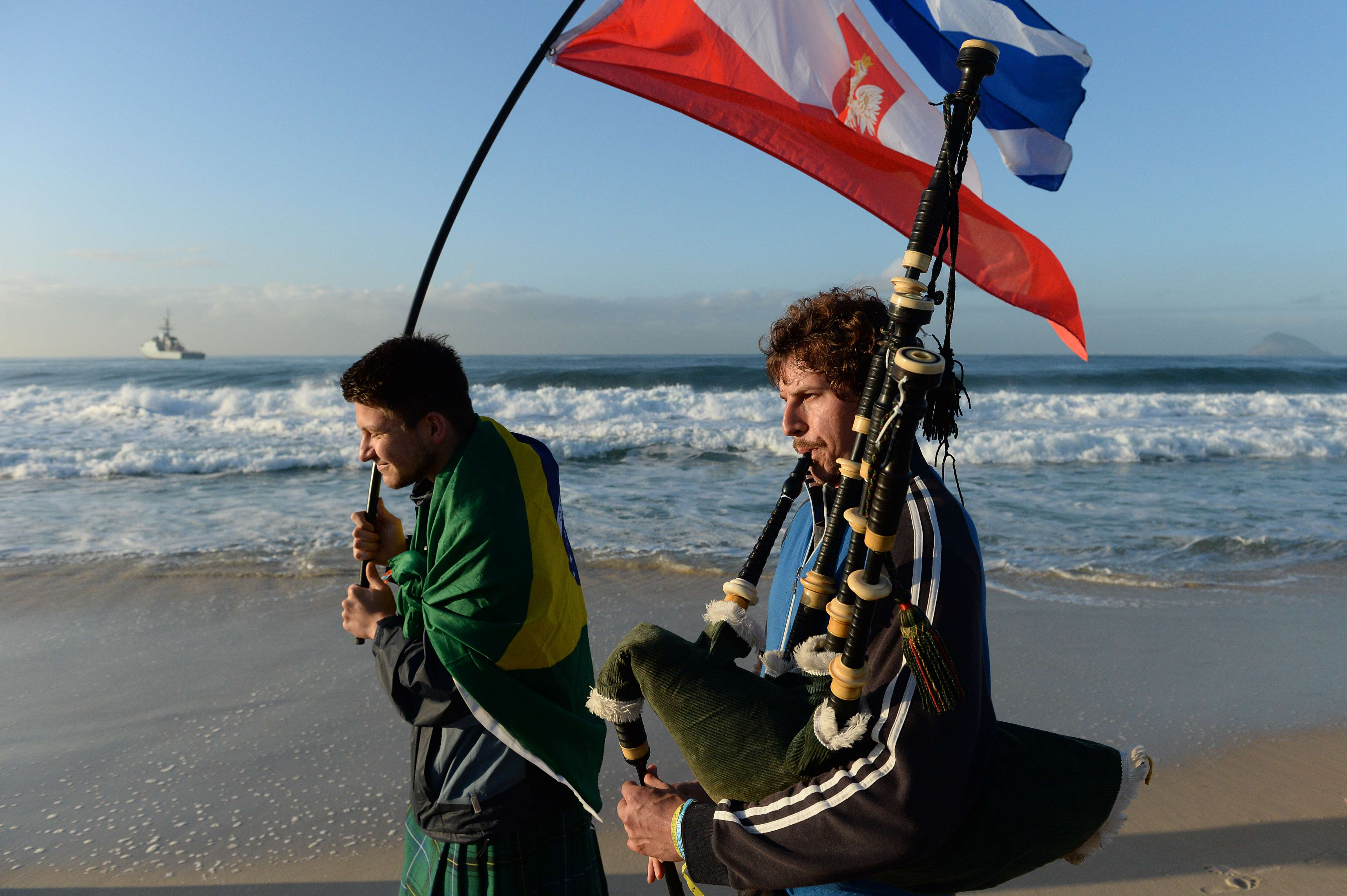Pilgrims camped out on Copacabana Beach Saturday night, where an overnight vigil also drew millions.