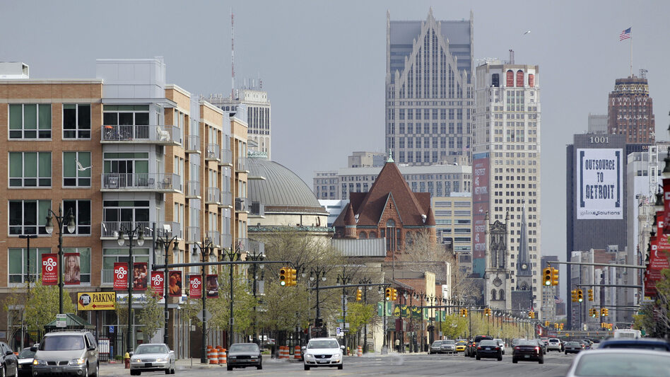 Woodward Avenue runs through Midtown, a Detroit neighborhood that is reviving in the midst of the larger city's decline. In the background is downtown Detroit. (Carlos Osorio/AP)