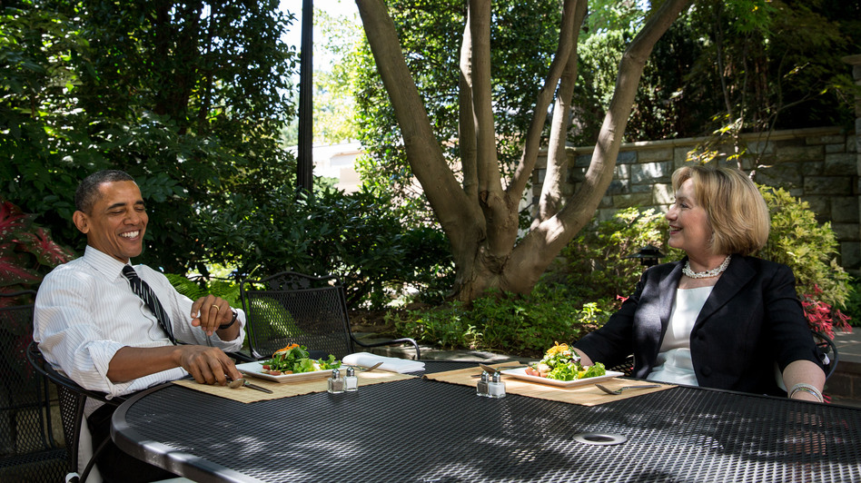 President Obama has lunch with former Secretary of State Hillary Clinton on the patio outside the Oval Office on Monday.