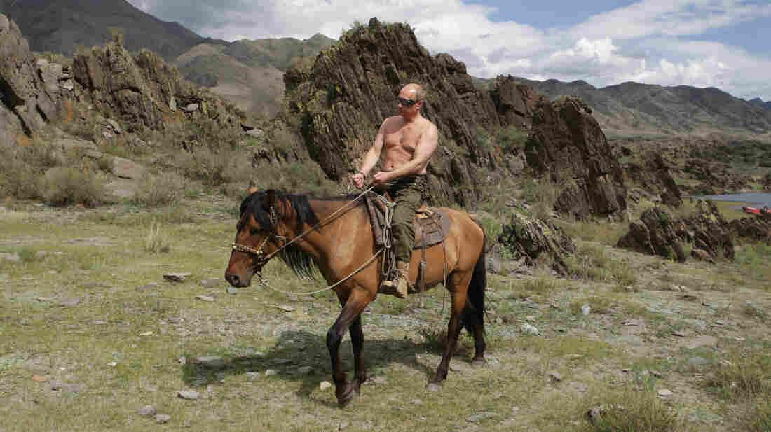 Putin rides a horse in the mountains of the Siberian Tyva region on Aug. 3, 2009.
