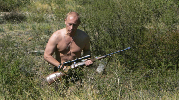 Vladimir Putin  on a hunting trip in the Siberian Tyva region in September 2010. He was Russia's prime minister at the time.
