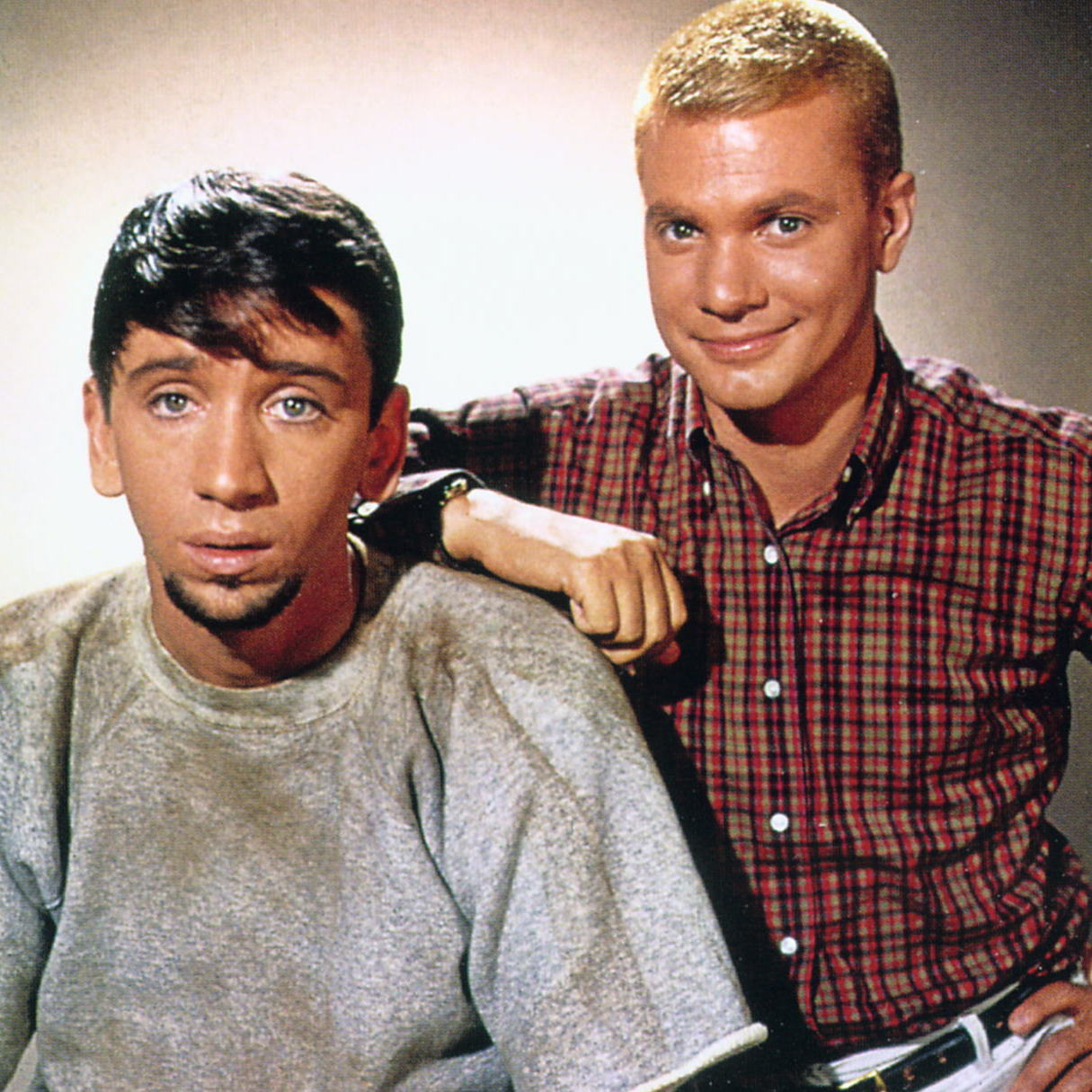 The Many Loves of Dobie Gillis is the first in a straight line of teen comedies from the teen point of view. It starred Dwayne Hickman (right) as Dobie and Bob Denver as his best friend, Maynard.