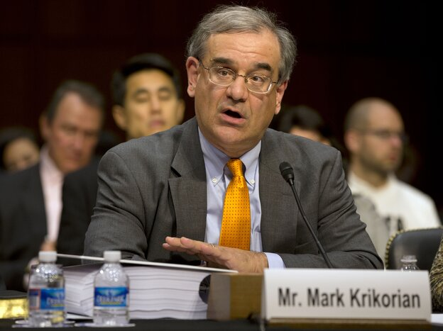 """Mark Krikorian, executive director of the Center for Immigration Studies, testifies on Capitol Hill on Monday, April 22, 2013. When interviewed by Michel Martin on Tell Me More in June, Kirkorian was identified as having a """"more restrictionist approach"""" to immigration."""