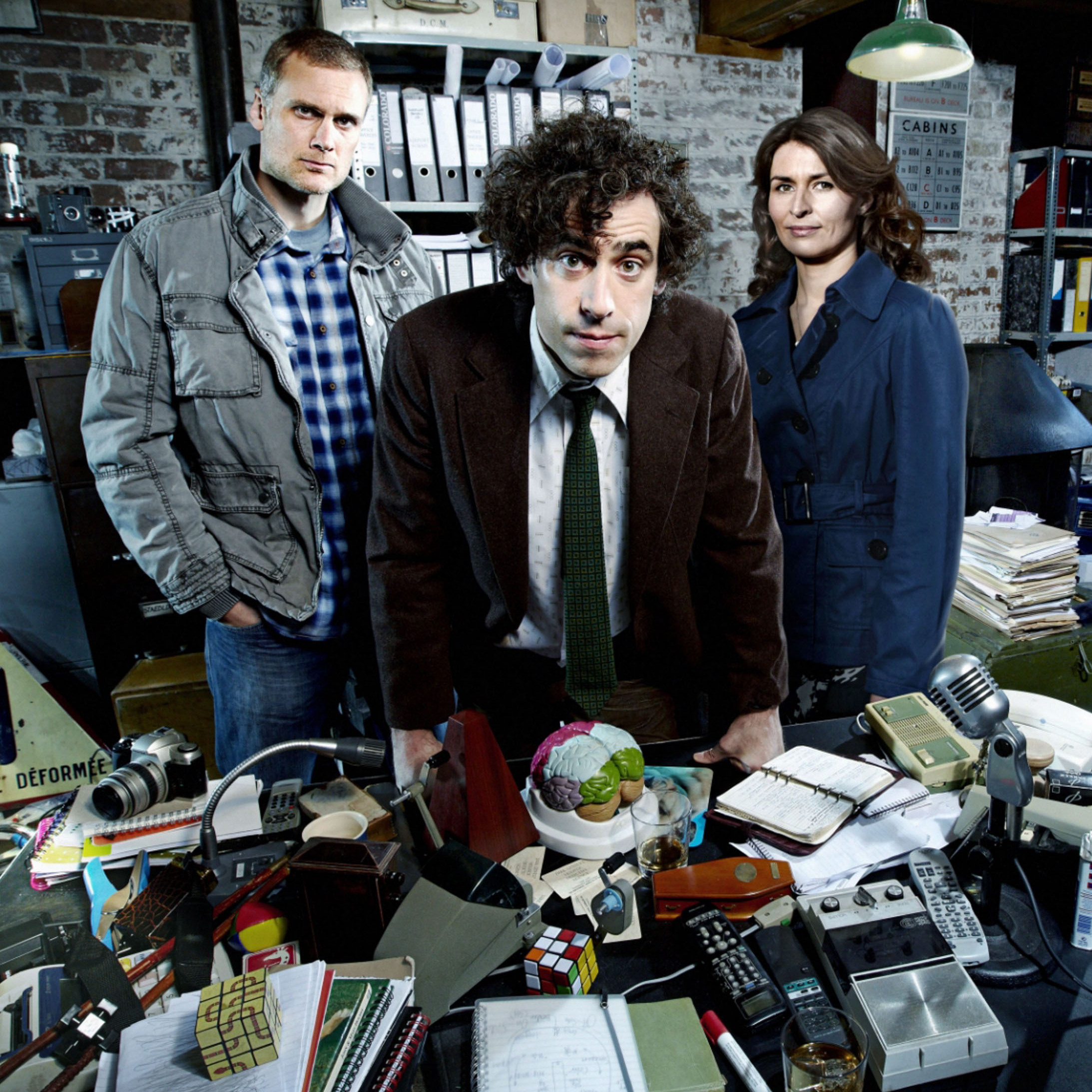 Darren Boyd (from left), Stephen Mangan and Helen Baxendale star in the BBC's Dirk Gently.