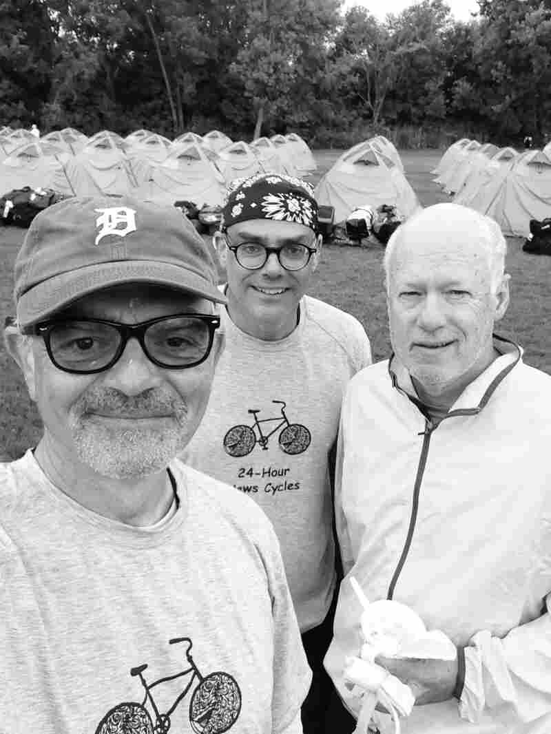 Breaking camp, day 3: (l-r) Don Gonyea, Scott Horsley, and Brian Naylor. Rumors have started swirling that Horsley ties the tightest do rag. Remains to be seen.