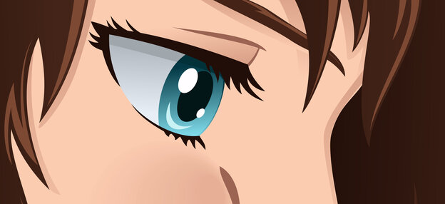 An illustrated closeup on a woman's eye.