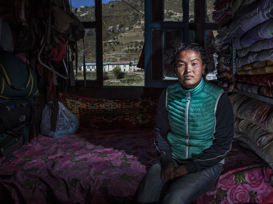 Nima Lhamu lost her first husband, Dawa Temba, to Everest's dangerous Khumbu Icefall when she was six months pregnant with their son. (Courtesy of Grayson Schaffer)