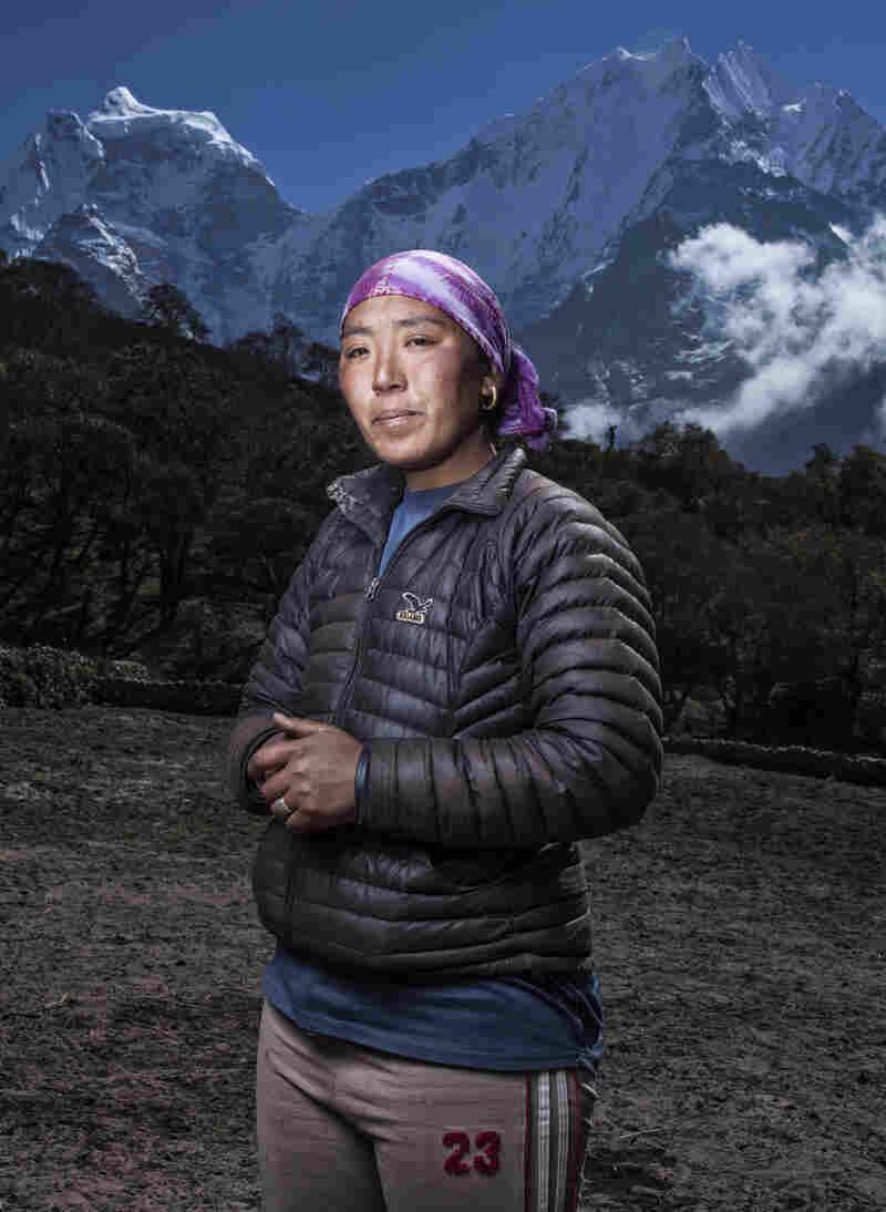 Jangmu lost her husband, Dawa Tenzing, to a stroke he suffered at Everest's Camp I.
