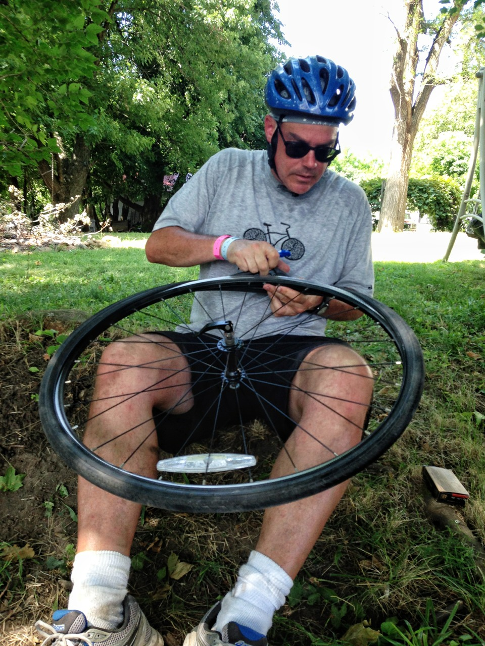 "From tumblr: ""BREAKING NEWS. Horsley flat tire. Happening now! Bussey, IA."" But what caused the mishap? A witness swears that Horsley twitched ever-so-slightly during discussions surrounding the 'lovely bass' that Gonyea contributed to the 'symphony of snoring from surrounding RAGBRAI tents.' Details unconfirmed."