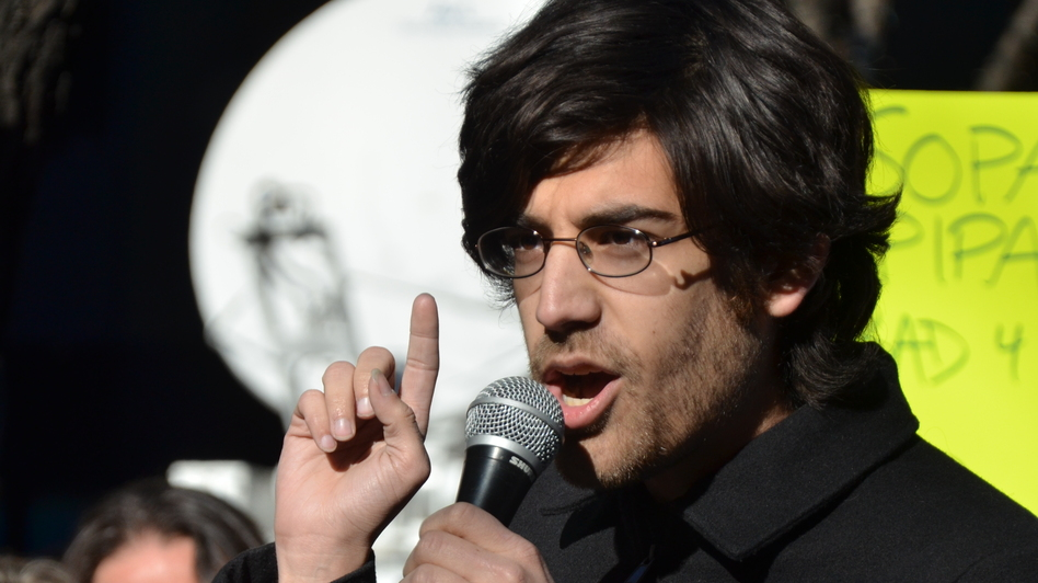 Internet activist Aaron Swartz at a rally in January 2012. (Flickr)