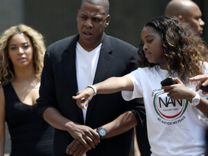 "Beyonce (left) and Jay Z arrive at a ""Justice for Trayvon"" rally in New York earlier this month."