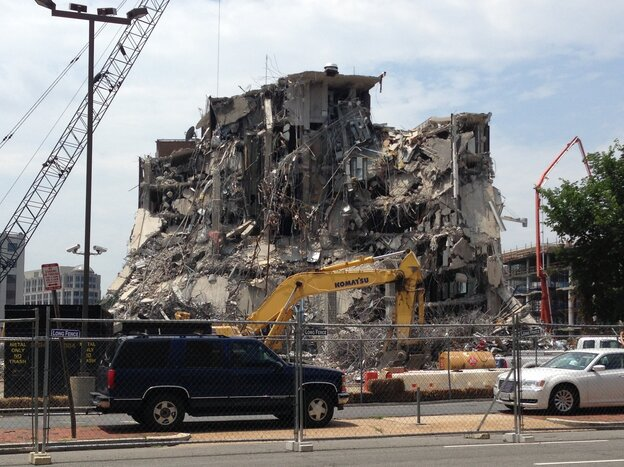 The old NPR building at 635 Massachusetts Ave. NW in Washington, D.C., was torn down in stages. This photo shows what the building looked like in late June.