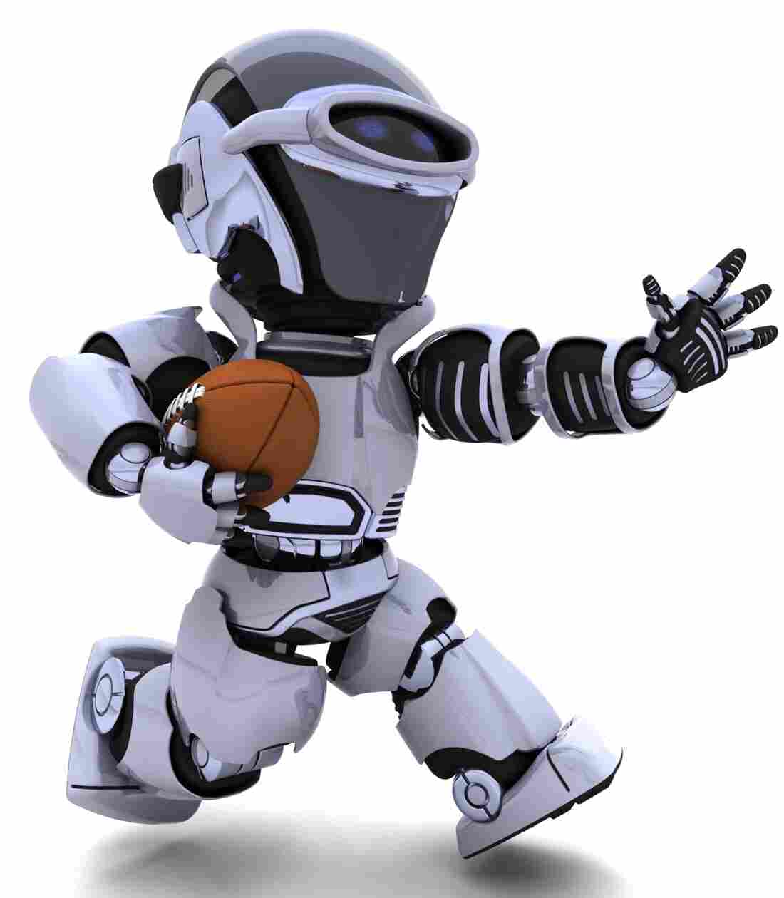 A 3-D rendering of a robot playing American football.