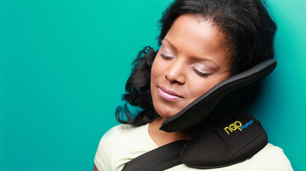 The Nap Anywhere is a new, portable head-support pillow created by a Virginia-based physician. (Courtesy of Nap Anywhere)