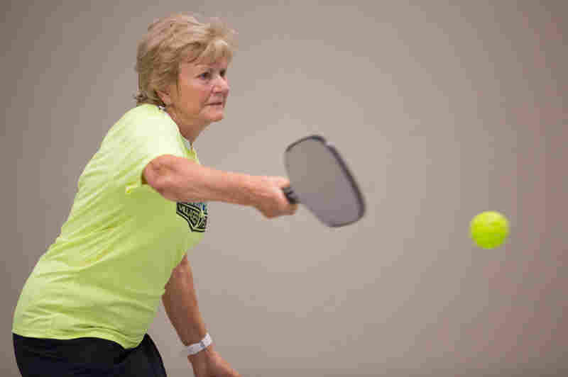 Rosemarie Pietromonaco practices pickleball at the Cleveland Convention Center on July 27.
