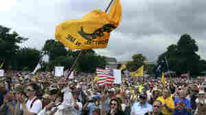 "The crowd cheers speaker Glenn Beck (not pictured) during a Tea Party rally to ""Audit the IRS"" in front of the U.S. Capitol on June 19."