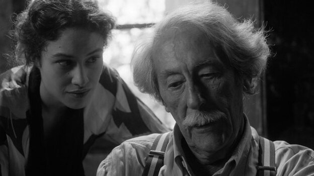 Aging sculptor Marc Cros (Jean Rochefort) finds new inspiration in the person — if not the personality — of a young Spanish refugee (Aida Folch) in The Artist and the Model.