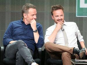 Actors Bryan Cranston and Aaron Paul speak onstage during the Breaking Bad panel on July 26.