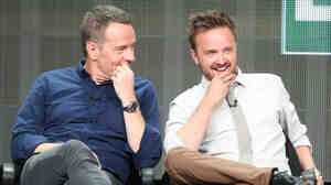 Actors Bryan Cranston and Aaron Paul speak onstage during the Breaking Bad panel on July 26.