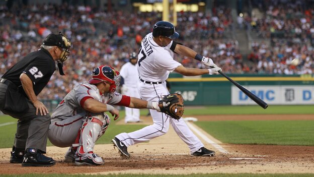 Detroit Tigers shortstop Jhonny Peralta bats during the sixth inning against the Washington Nationals on Tuesday. Detroit fans watching game had the option of tuning in to a broadcast that lacked announcers, featuring only the s